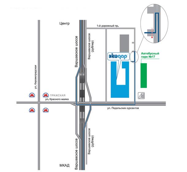 Схема проезда на склад ЭКОДАР